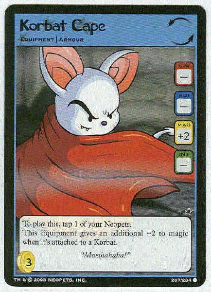 Neopets #207 Korbat Cape Game Card Unplayed