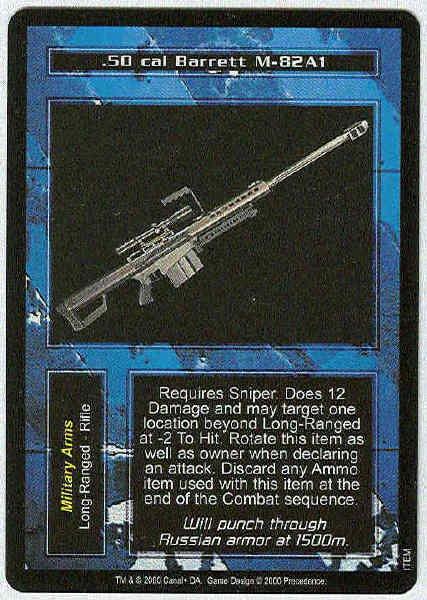 Terminator CCG .50 Cal Barrett M-82A1 Rare Game Card Unplayed
