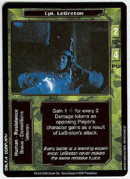 Terminator CCG Cpl. LeBreton Rare Game Card Unplayed