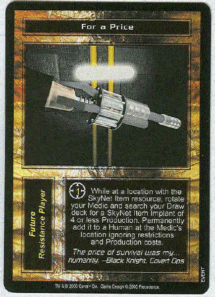 Terminator CCG For A Price Rare Game Card Unplayed