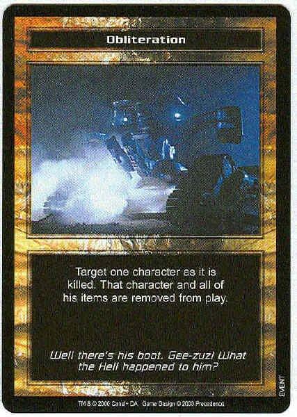 Terminator CCG Obliteration Rare Game Card Unplayed
