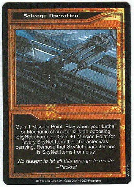 Terminator CCG Salvage Operation Rare Card Unplayed