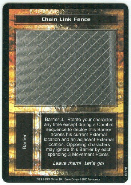 Terminator CCG Chain Link Fence Precedence Game Card