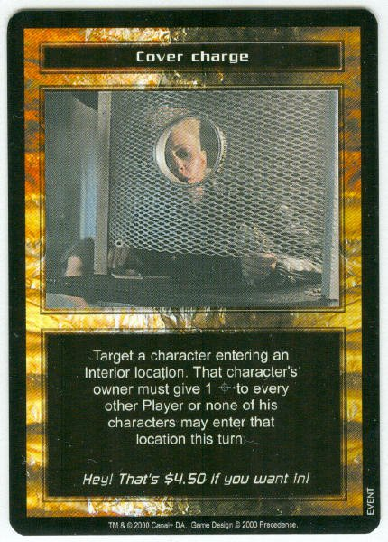 Terminator CCG Cover Charge Game Card Unplayed