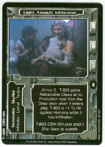 Terminator CCG Light Assault Infiltrator Game Card Unplayed