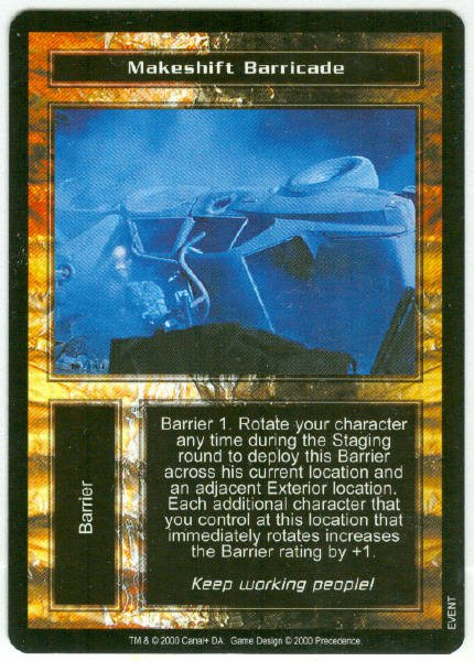 Terminator CCG Makeshift Barricade Game Card Unplayed