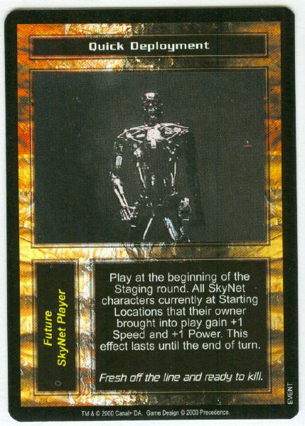 Terminator CCG Quick Deployment Game Card Unplayed