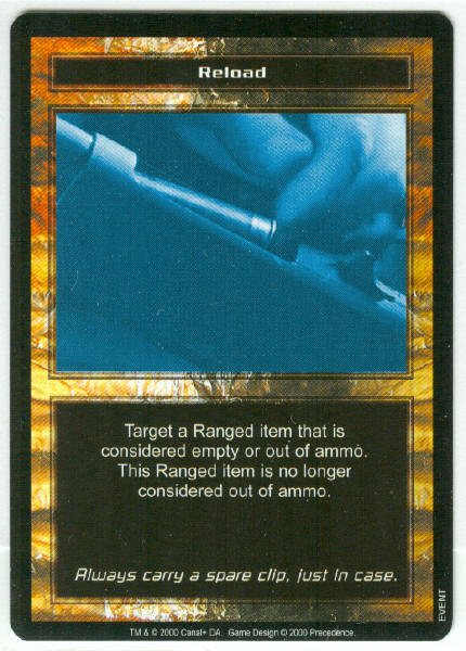 Terminator CCG Reload Precedence Game Card Unplayed