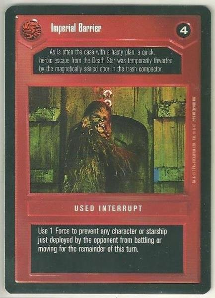 Star Wars CCG Imperial Barrier DS Premiere Limited Game Card Unplayed
