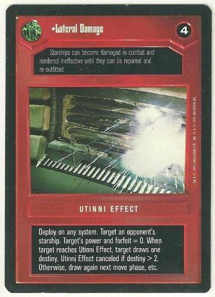 Star Wars CCG Lateral Damage Rare DS Limited Game Card Unplayed