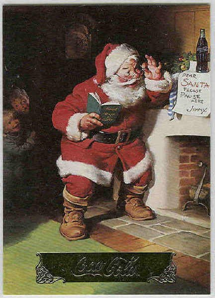 Coca Cola Series 1 #S9 Santa Foil Card Please Pause Here