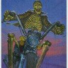 James Warhola #M4 Metallic Storm Card Skeleton Biker