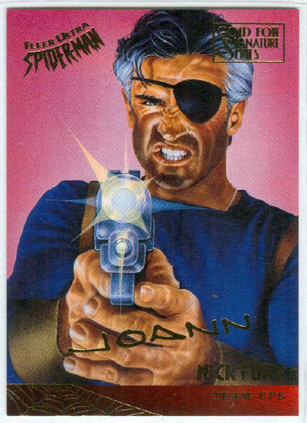 Spider-Man Fleer Ultra #123 Gold Foil Signature Nick Fury