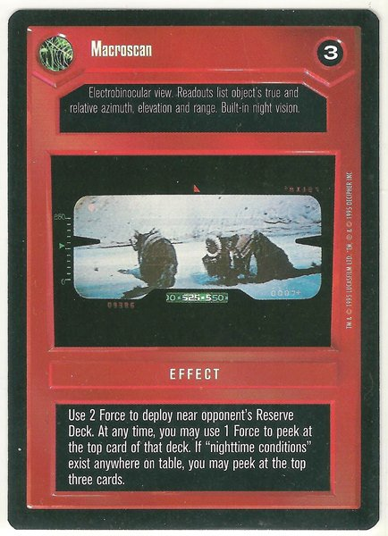 Star Wars CCG Macroscan DS Premiere Limited Game Card Unplayed