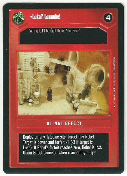 Star Wars CCG Luke Luuuuke Uncommon DS Limited Game Card Unplayed