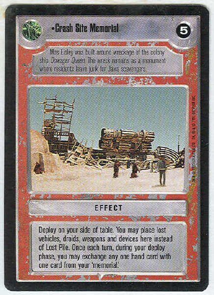 Star Wars CCG Crash Site Memorial Uncommon LS Game Card Unplayed