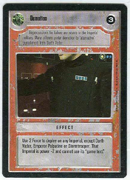 Star Wars CCG Demotion Rare LS Limited Game Card Unplayed