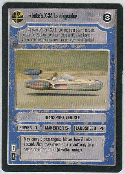 Star Wars CCG Luke's X-34 Landspeeder Uncommon LS Game Card Unplayed