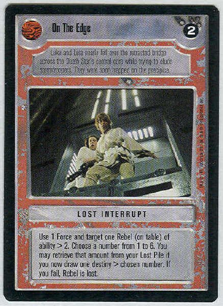 Star Wars CCG On The Edge Rare LS Limited Game Card Unplayed