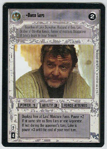 Star Wars CCG Owen Lars Premiere Uncommon LS Game Card Unplayed