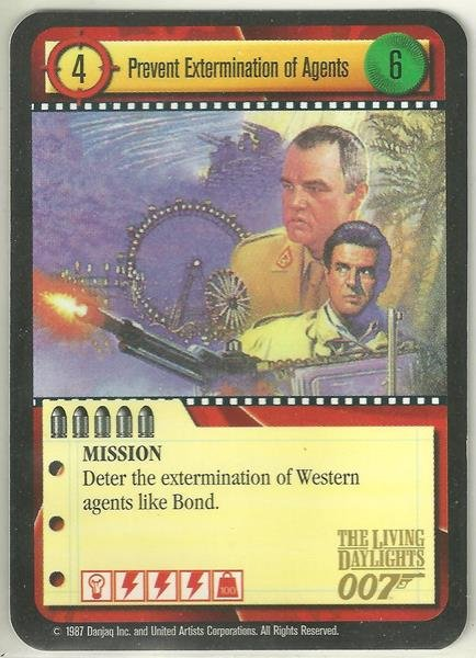 James Bond 007 CCG Prevent Extermination of Agents Game Card The Living Daylights