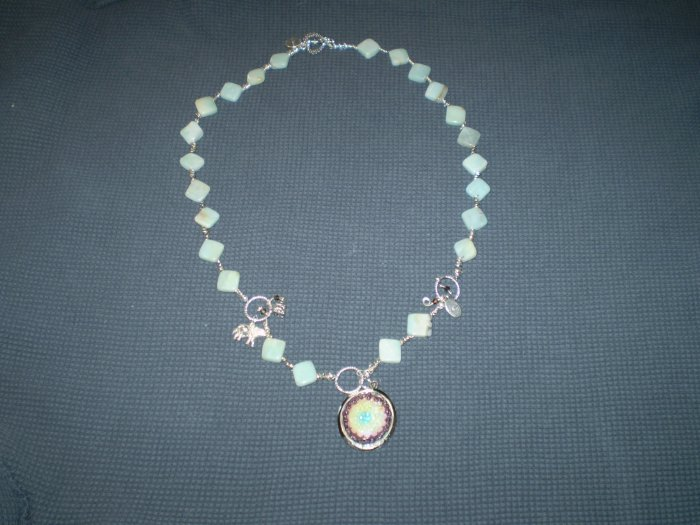 Amazonite, Sterling Silver with Handcrafted Mosiac Pendant
