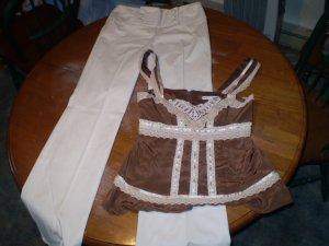 Nanette Lepore Wide Leg Sailor style pants with Empire Waist Blouse