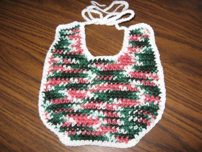 Green Pink White crochet baby bib