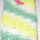 Crochet Eyeglass Case green yellow and white variegated