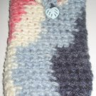 Crochet Eyeglass Case variegated pgray pink and cream