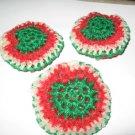 3 crochet scrubbies Christmas pot scrubbers