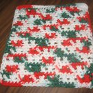 Red white and green crochet dishcloth