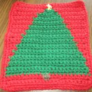 Christmas Crochet Tree dish cloth red background