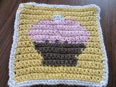 Crochet Cupcake dish cloth 100% cotton