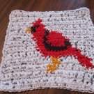 Crochet cardinal dish cloth 100% cotton