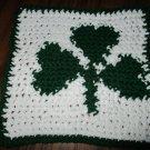 Crochet St Patrick Day Shamrock dish cloth 100% cotton