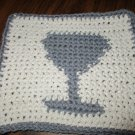 Crochet Wine Glass dish cloth 100% cotton