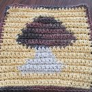 Crochet Mushroom dish cloth 100% cotton