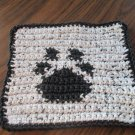 Crochet Paw Prints dish cloth 100% cotton