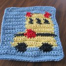 Crochet School Bus  dish cloth 100% cotton