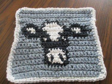Crochet Holstein Cow dish cloth 100% cotton