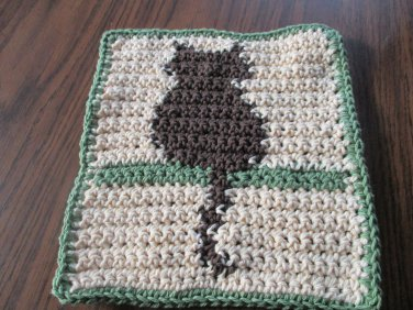 Crochet Cat on Shelf dish cloth 100% cotton