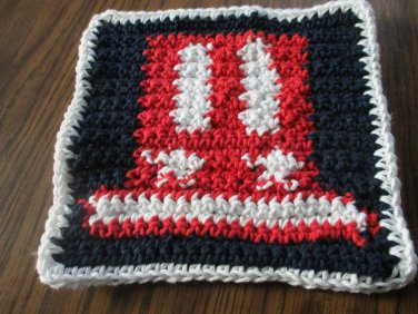 Crochet Uncle Sam's Hat Fourth of July dish cloth 100% cotton