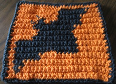 Crochet Halloween Bat dish cloth 100% cotton