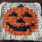 Crochet Halloween Jack O Lantern Pumpkin dish cloth 100% cotton