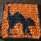 Crochet Halloween black cat dish cloth 100% cotton