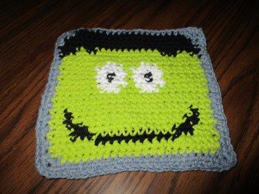 Crochet Halloween Monster dish cloth 100% cottonlime green