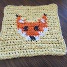 Fox crochet  dish cloth 100% cotton