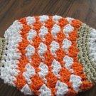 Crochet fish orange tan white dish cloth or bath scrubbie 100% cotton