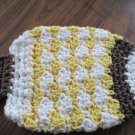 Crochet fish yellow and brown dish cloth or bath scrubbie 100% cotton